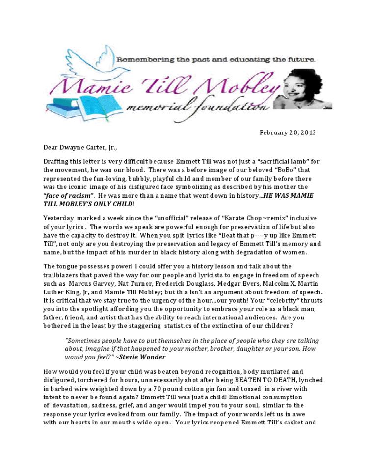 Emmett Till's Family Writes Open Letter To Lil Wayne About 'Karate